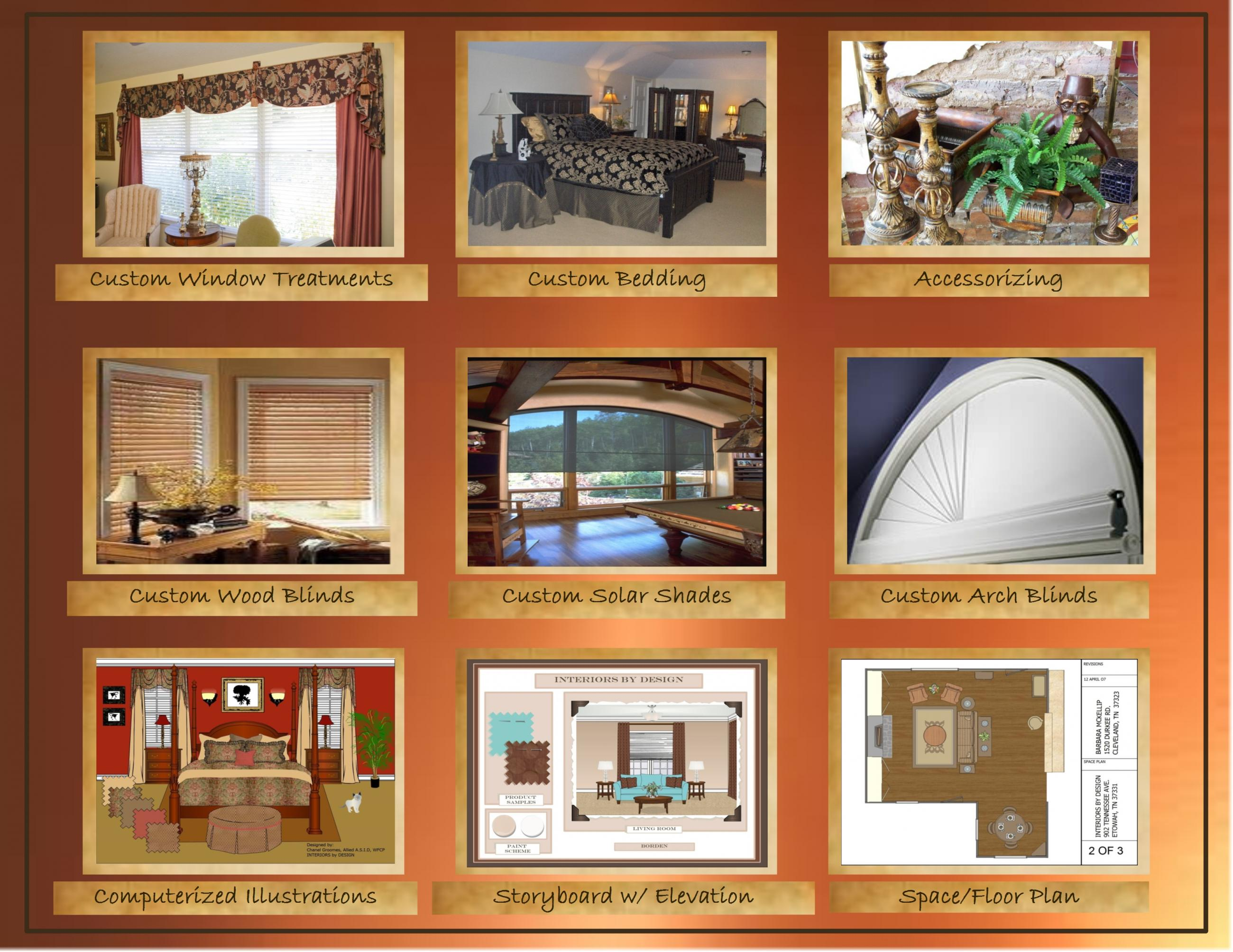 design services, interior design, interior, window treatments, curtains, fabric, bedding, accessories, blinds, arch window, space plan, floor plan, elevation